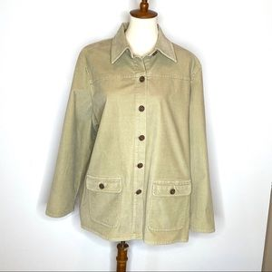 Lands' End Button Down Corduroy Jacket Collar 1X